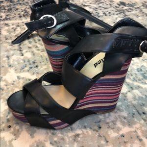 Black colorful wedge heels